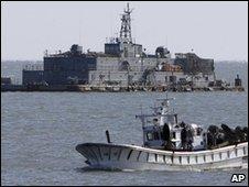 South Korean floating navy base near western Yeonpyong Island (file image)