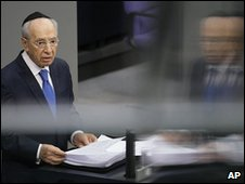 Shimon Peres addresses German parliament