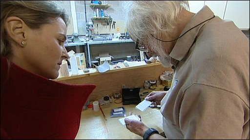 The BBC's Caroline Hawley with explosives expert Sidney Alford