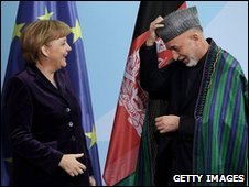 German Chancellor Angela Merkel and Afghan President Hamid Karzai