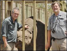 Mark Cawardine and Stephen Fry pictured in Kenya with a black rhino for Last Chance To See
