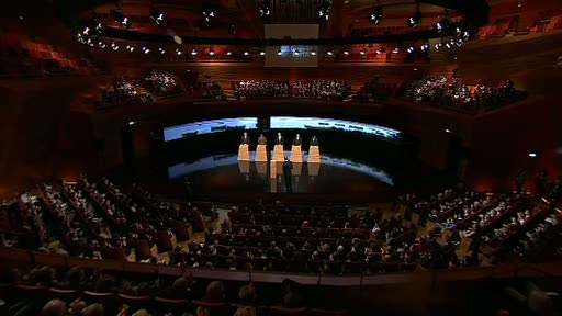 Speakers on stage for the Greatest Debate on Earth in Copenhagen