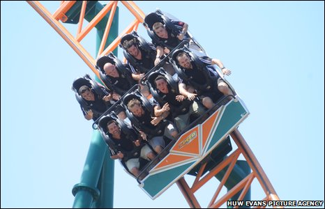 Crusaders players enjoy a rollercoaster ride at Oakwood