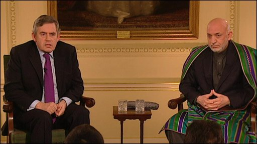 Gordon Brown and Hamid Karzai