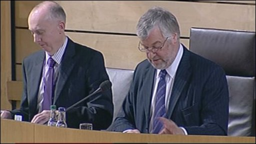 Presiding Officer Alex Ferguson during decision time