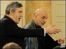 Gordon Brown and Hamid Karzai at Downing Street