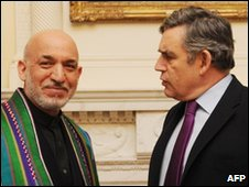 Gordon Brown and Hamid Karzai at Downing Street