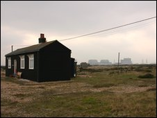 A house on Dungeness with power station on the horizon