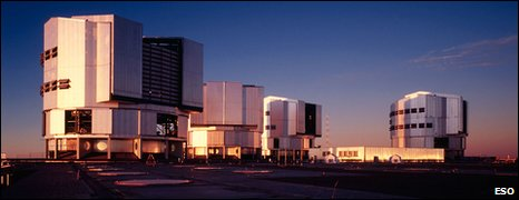 The VLT facility and its four 8.2m telescope units (Eso)
