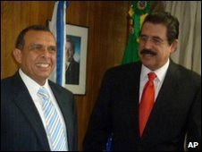 Porfirio Lobo and Manuel Zelaya at the Brazilian embassy in Tegucigulpa