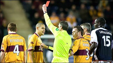 Giles Coke is sent off against Falkirk