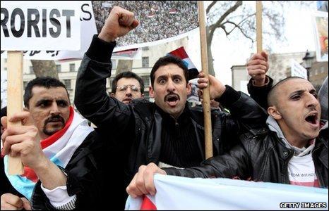 Demonstration over Yemen outside Downing Street