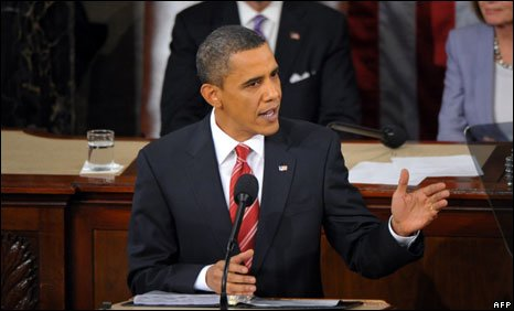 President Barack Obama delivering the State of the Union address