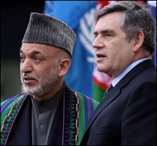 Hamid Karzai, Gordon Borwn