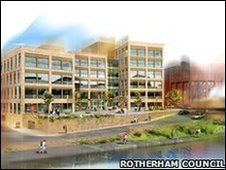 An artists impression of the old Guest & Chrimes site which will also be home to new civic building for Rotherham Council