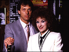 Dirty Den (Leslie Grantham) and Angie Watts (Anita Dobson)