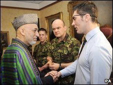 Hamid Karzai and L/Cpl David Timmins