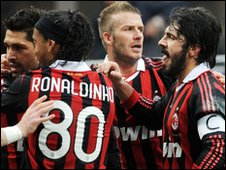 David Beckham and AC Milan team-mates