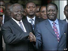 President Mwai Kibaki (left) and Prime Minister Raila Odinga (right)