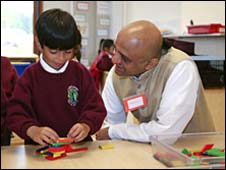 Pupil and teacher at Krishna-Avanti Hindu school in north London