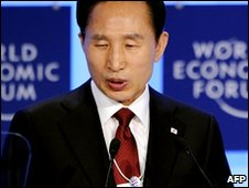 South Korean President Lee Myung-bak  at Davos, Switzerland (28 Jan 2010)