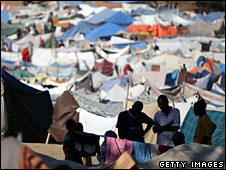 Makeshift camp in Port-au-Prince