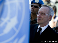 Edmond Mulet at a memorial service in Port-au-Prince. Photo: 28 January 2010