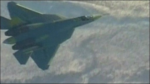 The Russian fighter in flight