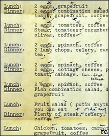 A diet used by Margaret Thatcher