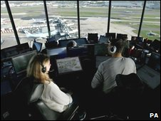 The panoramic view enjoyed by two air traffic controllers from the new control tower at Heathrow Airport