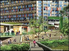 Urban Splash artist's impression of Park Hill's north end (2009)