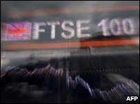 Computerised display of the British FTSE 100 index