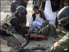 Wounded Afghan soldier in Lashkar Gah