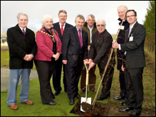 The tree-planting ceremony marked the beginning of the work