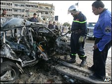 Debris from a car bomb in Baghdad, 26 January, 2010