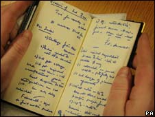 Diary belonging to Margaret Thatcher
