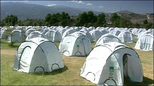Tents constructed in Haiti