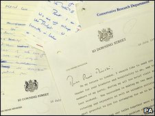 Letters written by Margaret Thatcher