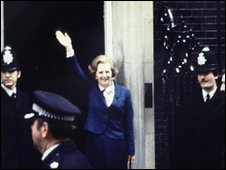 Margaret Thatcher outside Downing Street in May 1979