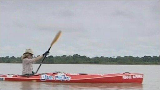 Helen Skelton in her kayak on River Amazon