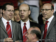 Joel Glazer, Avram Glazer and Bryan Glazer, sons of owner Malcolm Glazer