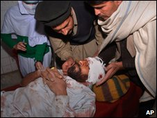 A casualty from the suicide bomb in Bajaur at a hospital in Peshawar on 30 January 2010