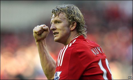 Dirk Kuyt celebrates Liverpool's opener for Liverpool against Bolton