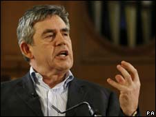 Gordon Brown speaks at the Poetry Live event for Haiti