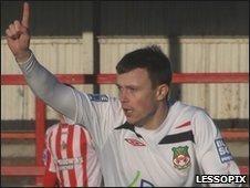 Andy Mangan celebrates scoring Wrexham's opener