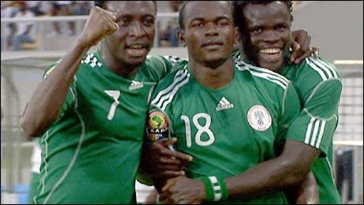 Nigeria celebrate Victor Obinna's goal