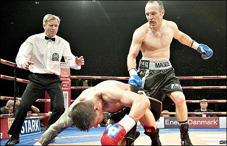 Mads Larsen goes down as Brian Magee wins the European title fight in Aarhus