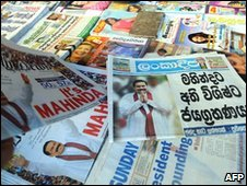 Newspapers on sale in Colombo