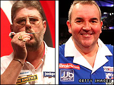 Martin Adams (left) and Phil Taylor