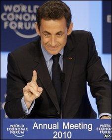 French President Nicolas Sarkozy in Davos